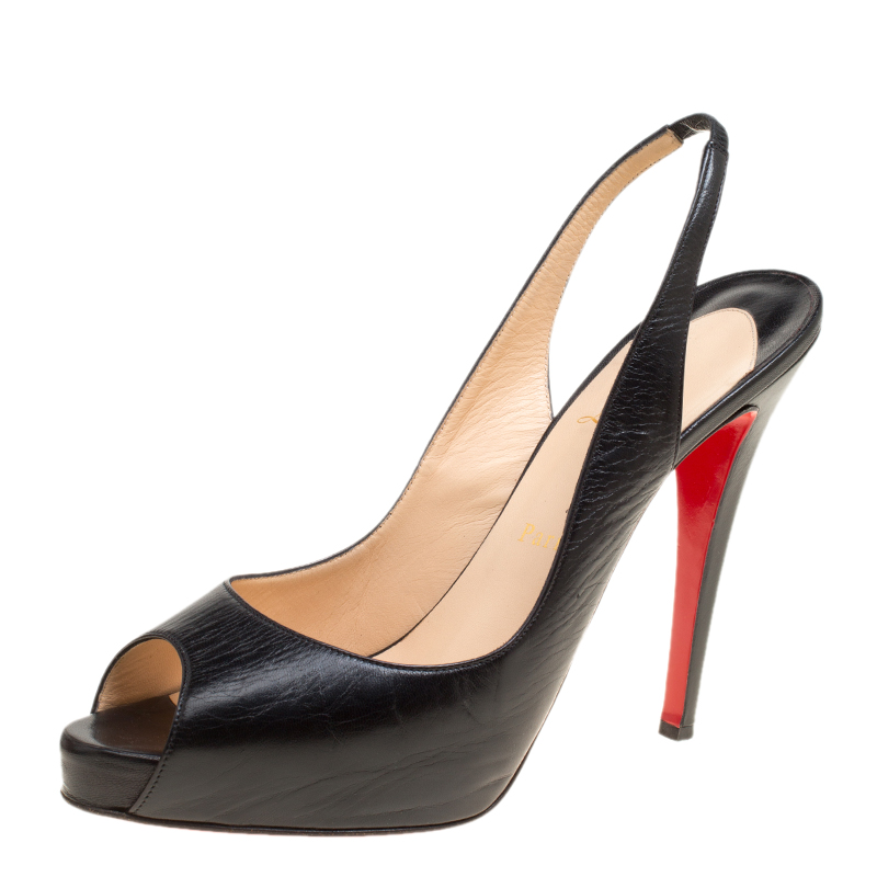 c43e81e4364 Christian Louboutin Black Leather Private Number Slingback Platform Sandals  Size 41.5