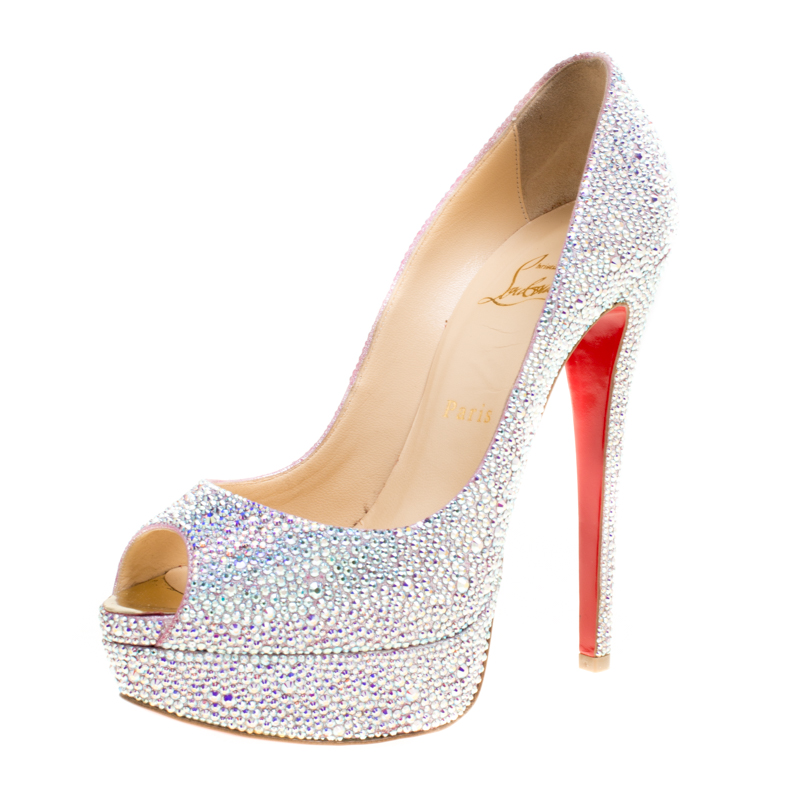 Buy Christian Louboutin Crystal Embellished Lady Peep Toe