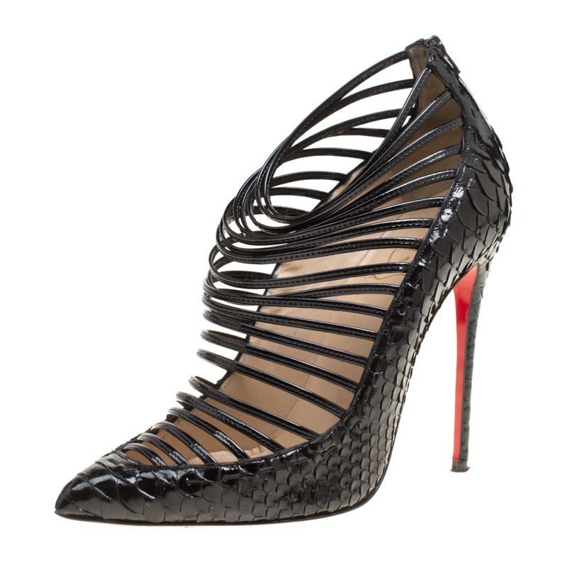 7870d25229 ... Christian Louboutin Black Patent Python Leather Gortik Strappy Ankle  Booties Size 39. nextprev. prevnext