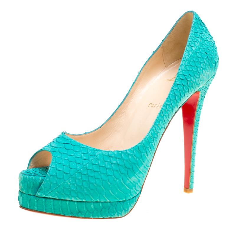 8f5b88241210 ... Christian Louboutin Green Python Textured Suede Lady Peep Toe Platform  Pumps Size 40.5. nextprev. prevnext