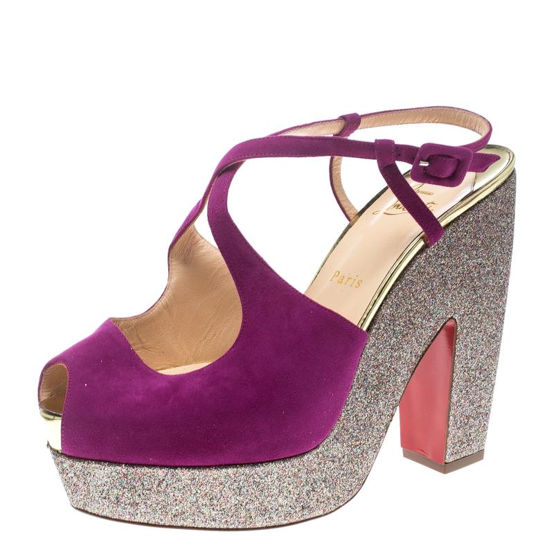 3916628b3ee7 ... Christian Louboutin Pink Suede Martel Peep Toe Platform Sandals Size  40.5. nextprev. prevnext