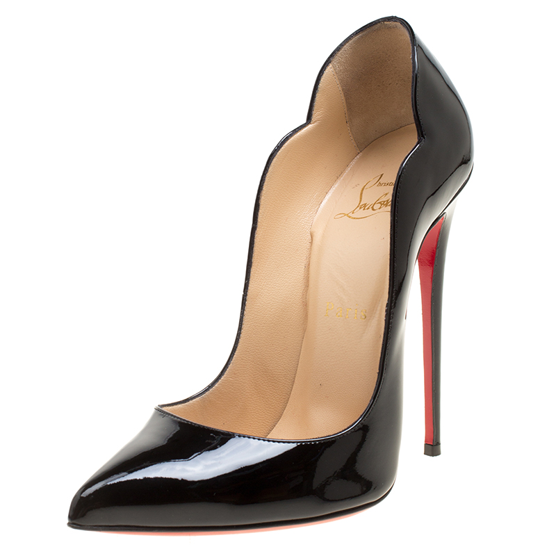 sports shoes fc581 a36fb Christian Louboutin Black Patent Leather Hot Chick Scalloped Trim Pointed  Toe Pumps Size 38.5