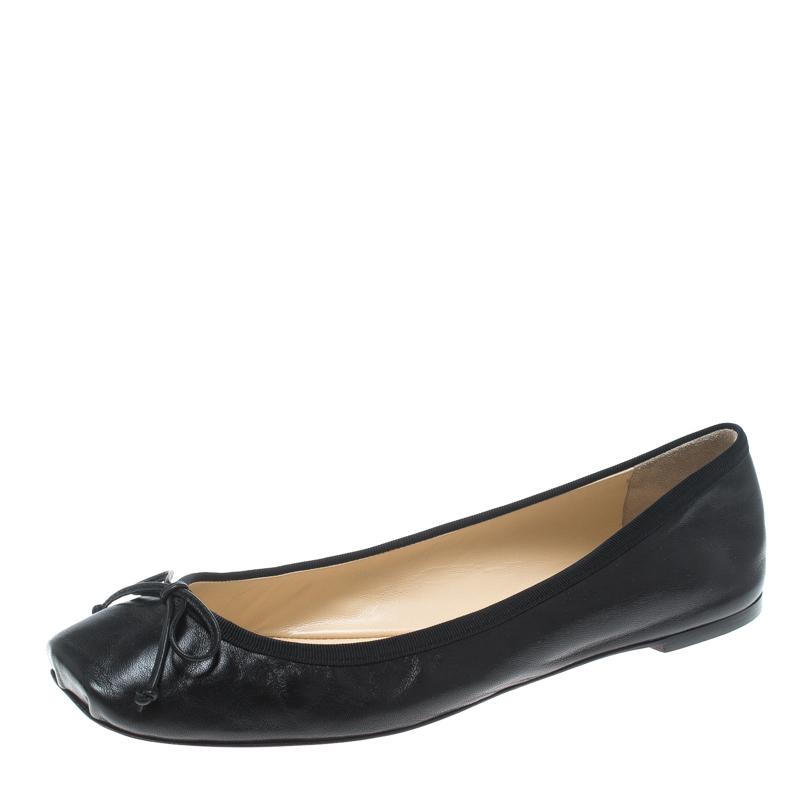 4b29ba82243 ... Christian Louboutin Black Leather Rosella Square Toe Ballet Flats Size  40. nextprev. prevnext