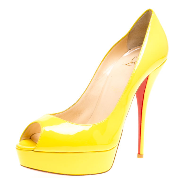 Buy Christian Louboutin Yellow Patent Leather Lady Peep Toe Platform ... 2ecfef0639