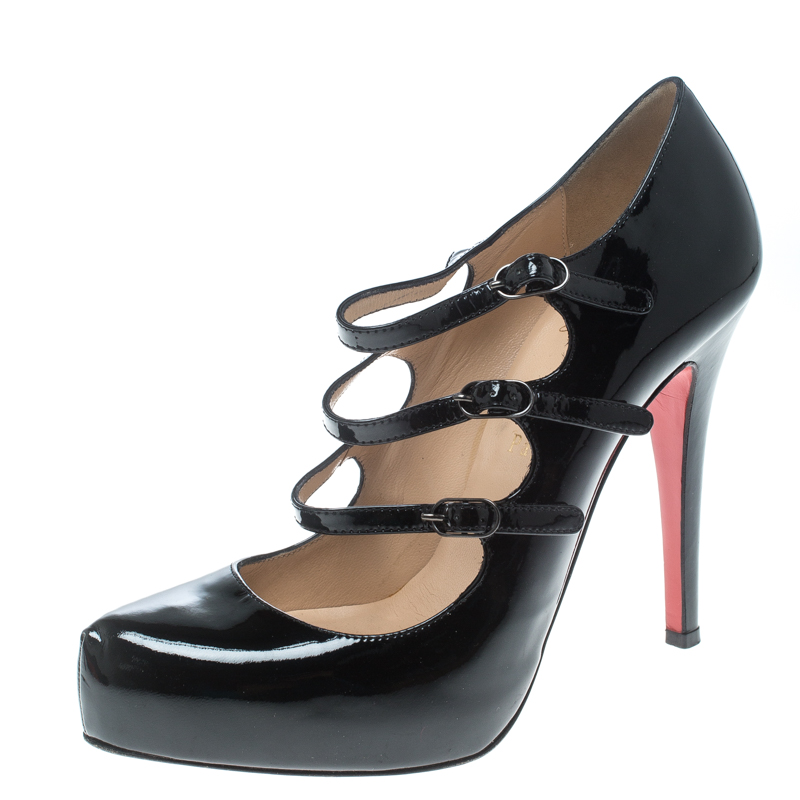b620efb19 Buy Christian Louboutin Black Patent Leather Lillian Strappy ...