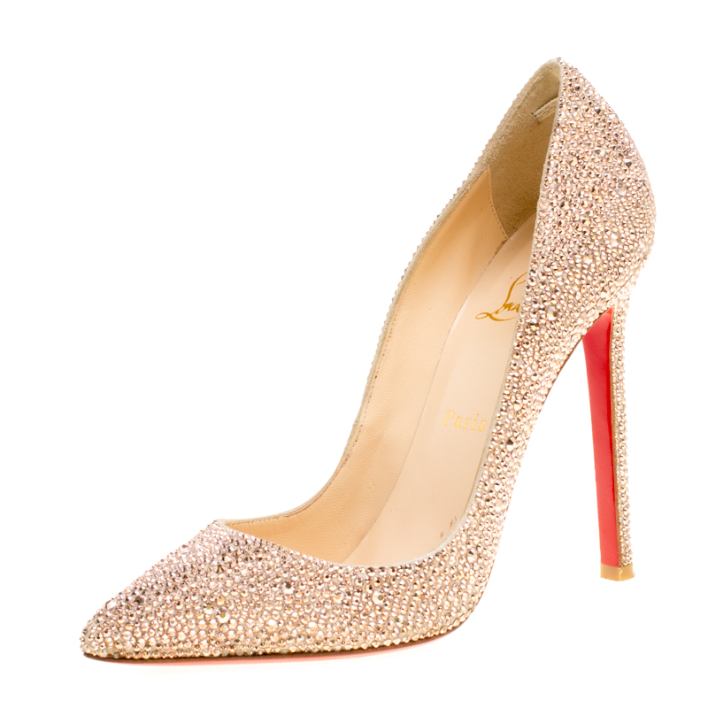 Christian Louboutin Beige Crystal Embellished Decollete 554 Pointed Toe Pumps Size 38