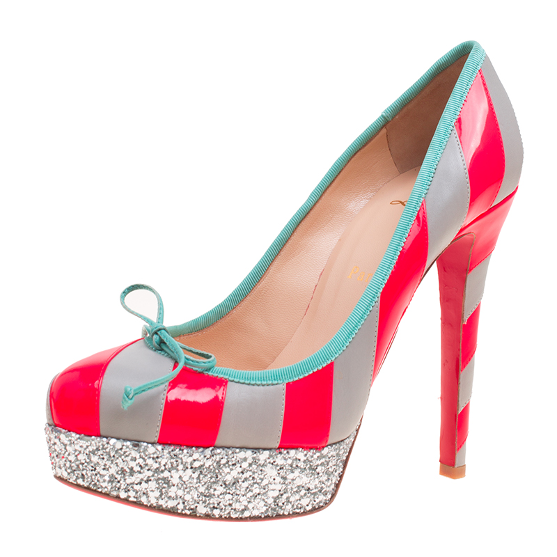 superior quality daf7b 2a805 Christian Louboutin Fluorescent Pink/Grey Striped Leather Foraine Glitter  Platform Pumps Size 37.5