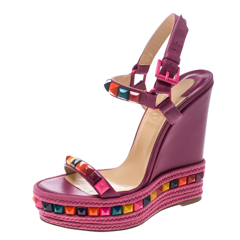 ... Christian Louboutin Pink Multicolor Studded Leather Cataclou Espadrille  Wedge Sandals Size 36. nextprev. prevnext f6b879381