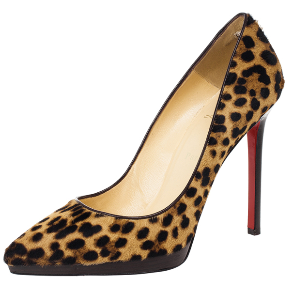 94778ef98b0 Buy Christian Louboutin Leopard Pony Hair Pigalle Plato Pumps Size 40 15921  at best price