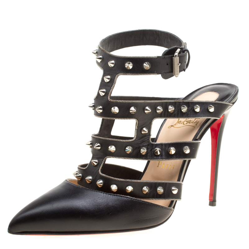 the best attitude dc407 f4bb2 Christian Louboutin Black Leather Tchicaboum Spike Embellished Strappy  Sandals Size 39.5
