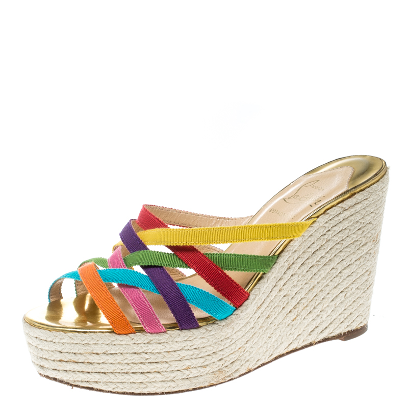 098f4e55cb0 Christian Louboutin Multicolor Fabric Crepon 110 Espadrille Wedge Sandals  Size 37