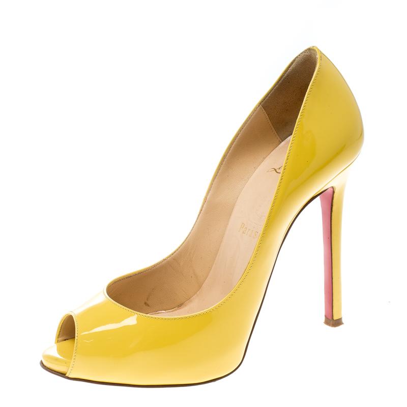 d396992715e3 ... Christian Louboutin Yellow Patent Leather Flo Peep Toe Pumps Size 36.5.  nextprev. prevnext