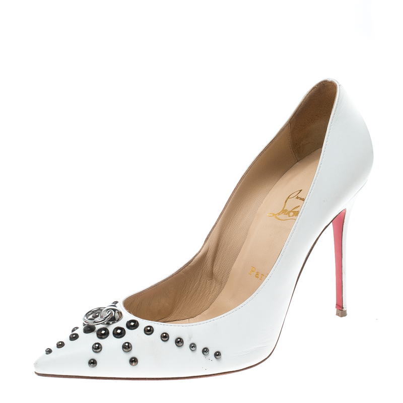 Christian Louboutin White Leather Door Knock Studded Pumps Size 39
