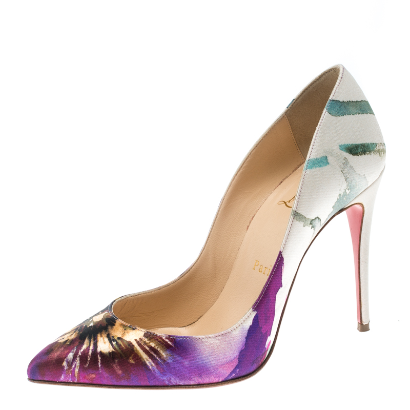 buy popular 8b794 2caef Christian Louboutin Multicolor Printed Satin Pigalle Follies Pumps Size 36.5