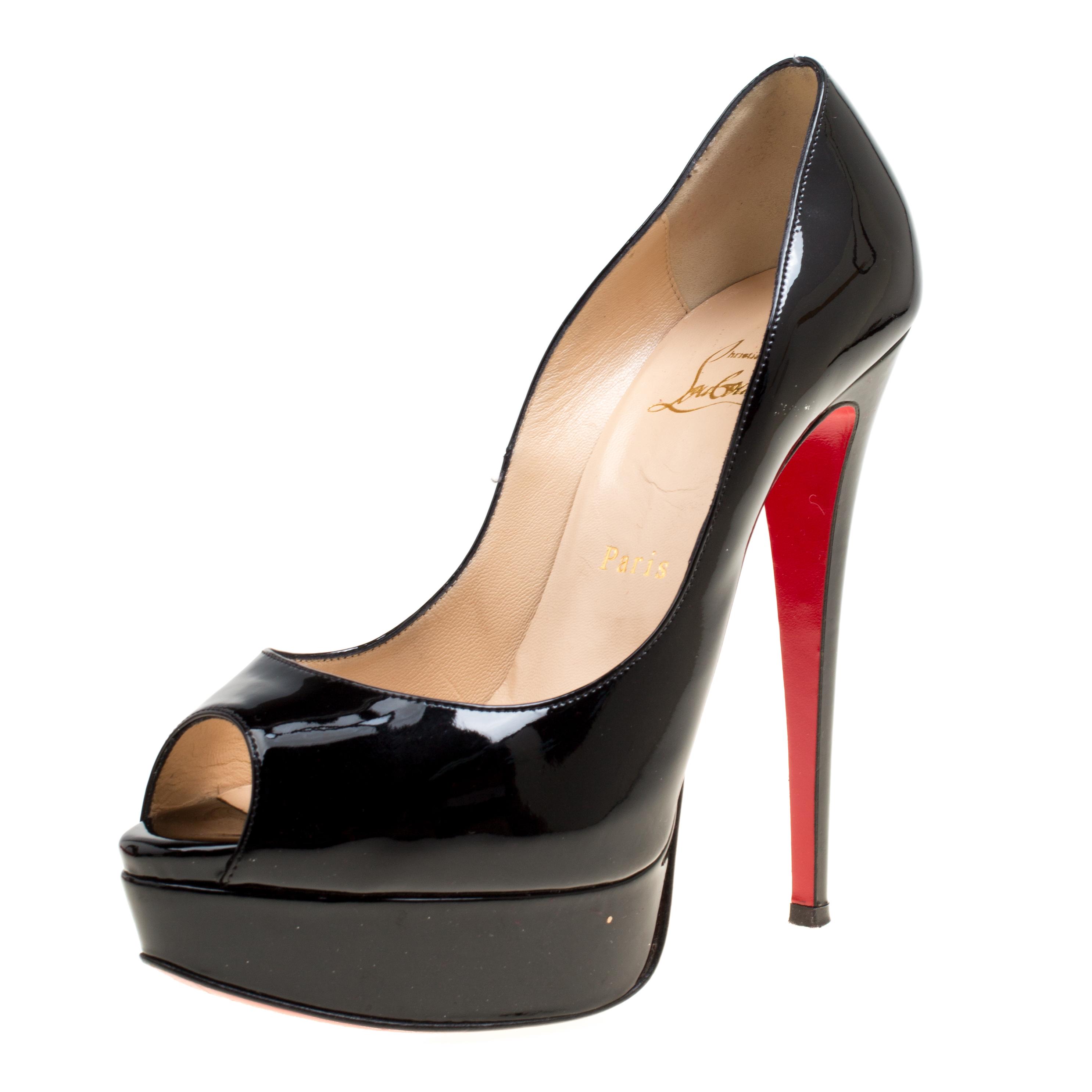 Christian Louboutin Black Patent Leather New Very Prive Peep Toe Platform Pumps Size 38