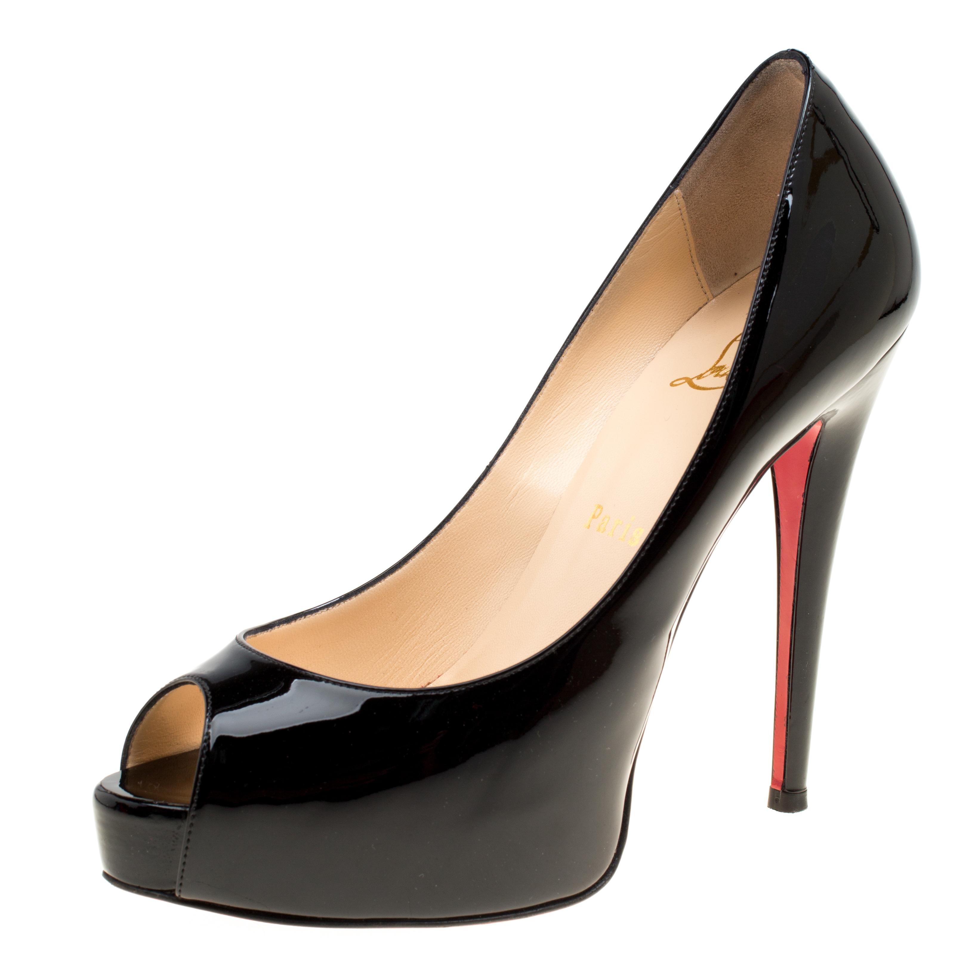 6816dc8c96c Christian Louboutin Black Patent Leather Hyper Prive Peep Toe Platform  Pumps Size 37