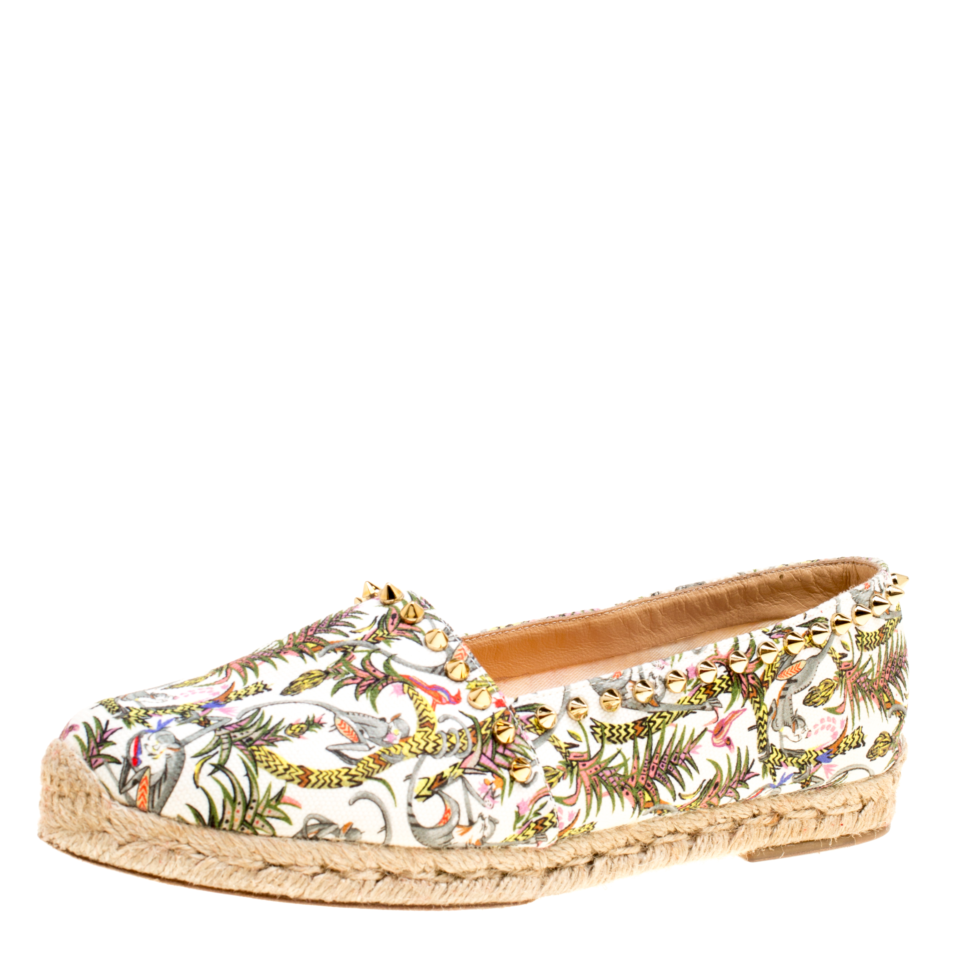 9082471b316 Christian Louboutin Ivory Multicolor Canvas Ares Spiked Espadrilles Flats  Size 39