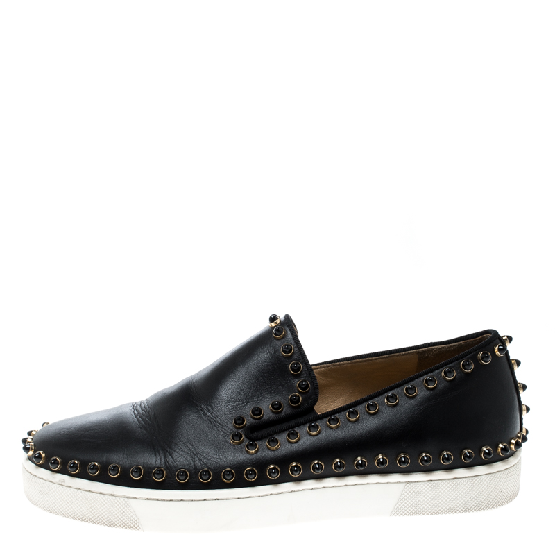 official photos f60af db44b Christian Louboutin Black Leather Spike Pik Boat Slip On Sneakers Size 36