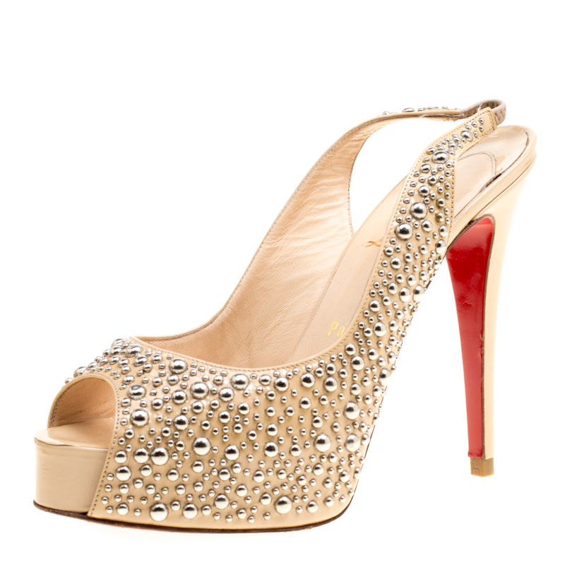 d15a7a4d532e ... Christian Louboutin Beige Studded Patent Leather Star Prive Peep Toe  Slingback Sandals Size 39. nextprev. prevnext