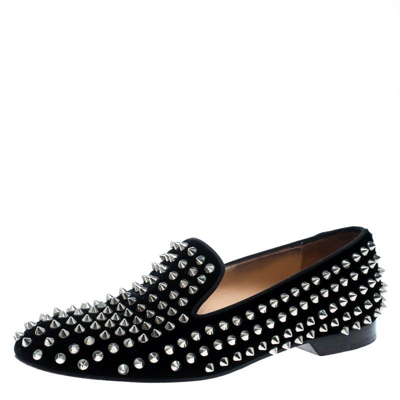 8ecff824f5c Christian Louboutin Black Velvet Rollerboy Spikes Flat Size 39