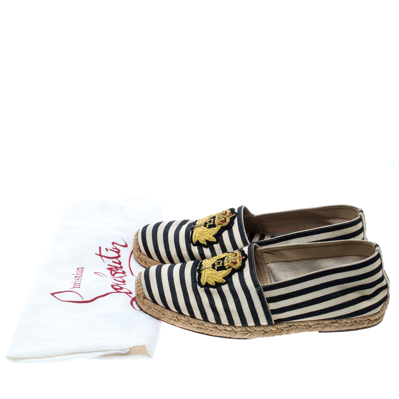 sports shoes 2997a b3566 Christian Louboutin Black/White Striped Canvas Gala Embroidered Crest  Espadrille Loafers Size 40