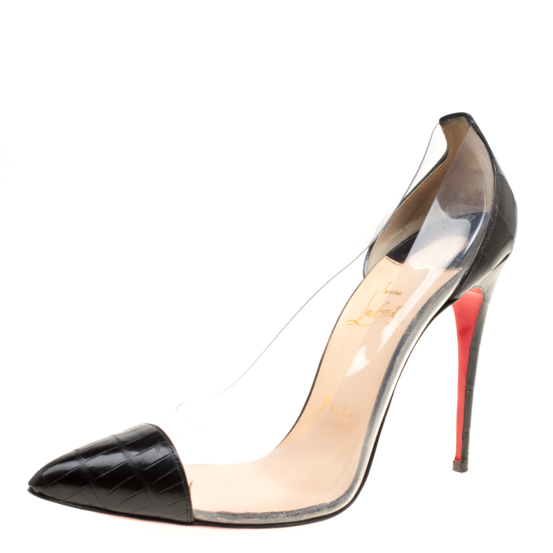 new product 3245b 4ed7f Christian Louboutin Black Croc Embossed Leather and PVC Debout Pointed Toe  Pumps Size 39