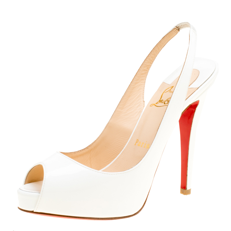 sale retailer d8f86 d0086 Christian Louboutin White Patent Leather Very Prive Slingback Sandals Size  37