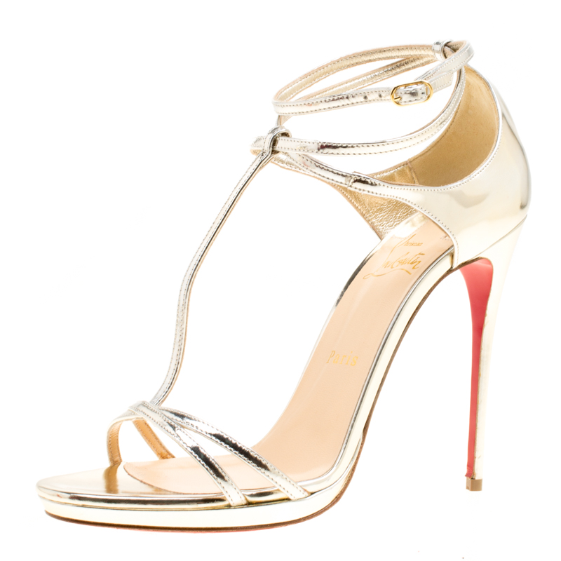 hot sale online abfb4 9762d Christian Louboutin Metallic Light Gold Leather Benedetta T Strap Sandals  Size 39