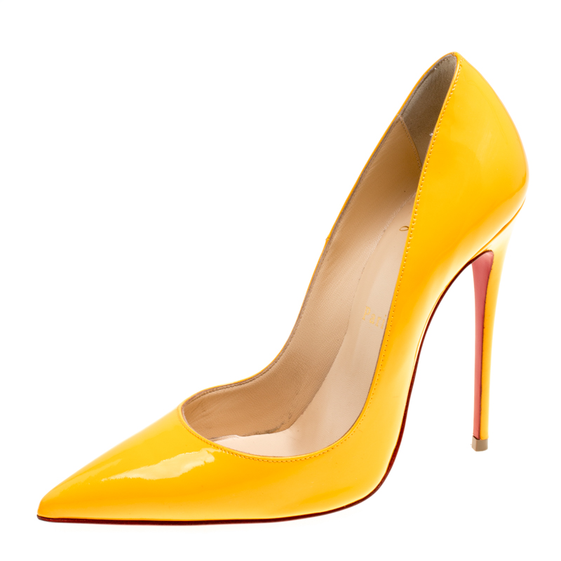 709cd8a09d1 Christian Louboutin Mustard Yellow Patent Leather Pigalle Pointed Toe Pumps  Size 37.5