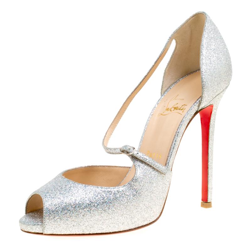 b567b0dd525 ... Christian Louboutin Silver Glitter Leather Peep Toe Sandals Size 39.  nextprev. prevnext
