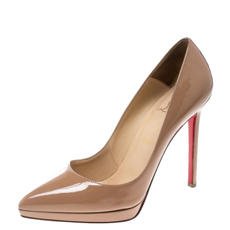 sports shoes cc839 c51ef Christian Louboutin Beige Patent Leather Pigalle Plato Pumps Size 38.5