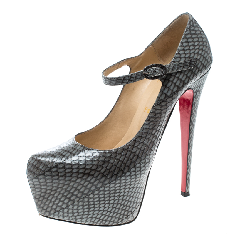 sale retailer 56ff6 44f99 Christian Louboutin Grey Snakeskin Leather Lady Daf Mary Jane Platform  Pumps Size 39.5