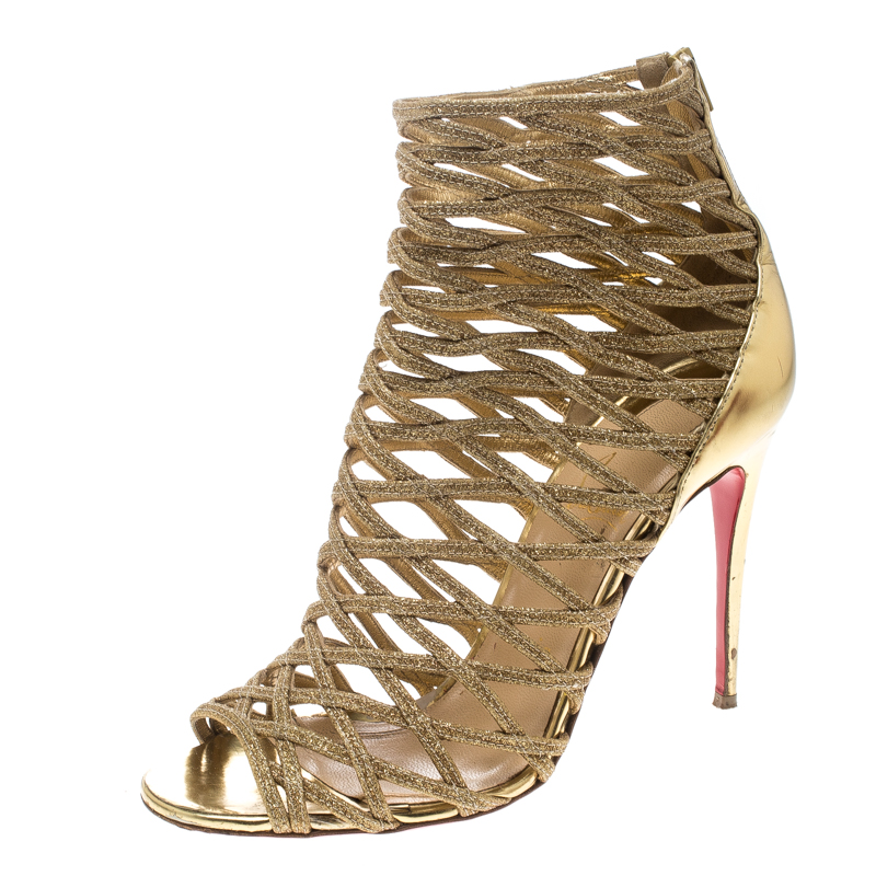 new styles a007a 9d6ae Christian Louboutin Gold Glitter and Leather Gladiator Caged Booties Size  38.5