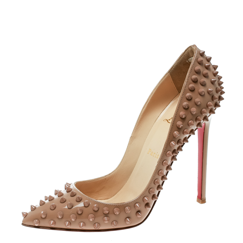 f86097be423 Christian Louboutin Beige Patent Pigalle Spikes Pumps Size 38.5