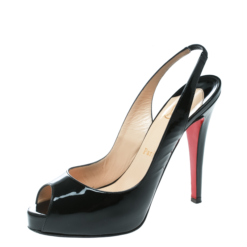 1e82c82b19d Buy Christian Louboutin Black Patent Leather Private Number Peep Toe ...