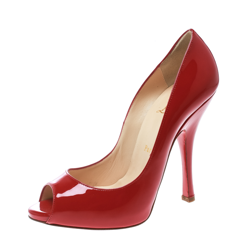 sports shoes 7104f 79316 Christian Louboutin Red Patent Leather Maryl Peep Toe Pumps Size 38