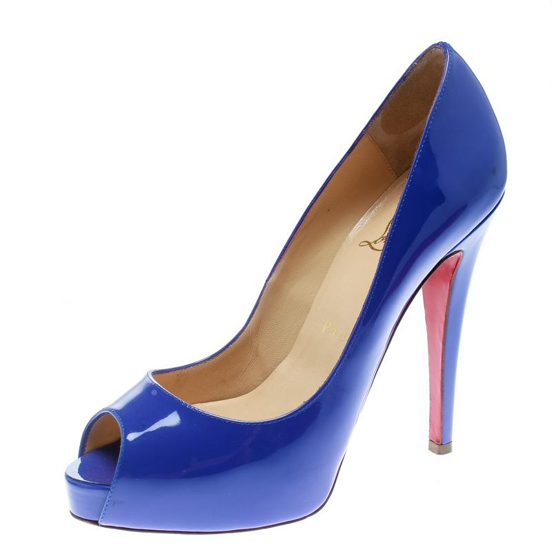 Christian Louboutin Blue Patent Leather Hyper Prive Peep Toe Platform Pumps Size 37