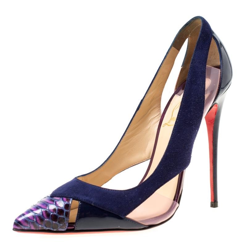d8e82a2e4d10 ... Christian Louboutin Blue Suede and Python Leather Galata Pointed Toe  Cutout Pumps Size 37.5. nextprev. prevnext