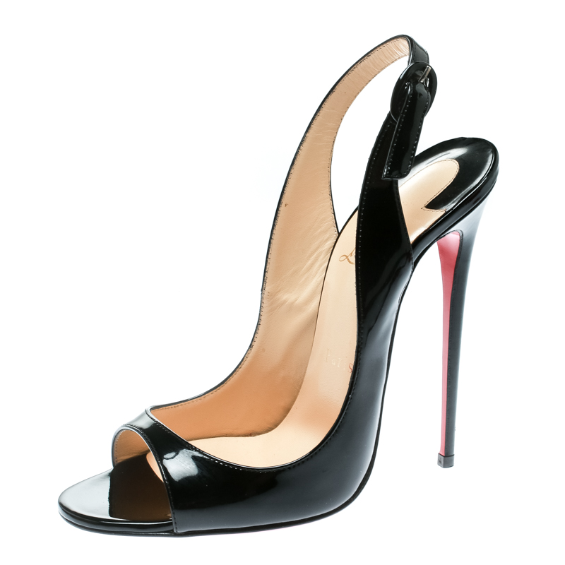 best sneakers 0aedf e5b2c Christian Louboutin Black Patent Leather Allenissima Slingback Sandals Size  38