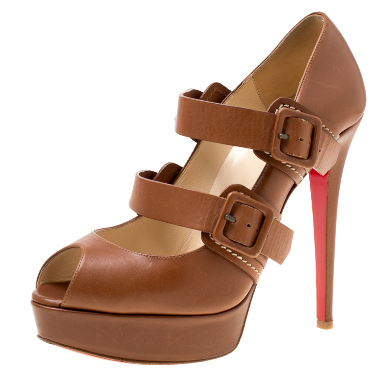 brand new 92c88 2dce5 Christian Louboutin Brown Leather Bikiki Mary Jane Peep Toe Pumps Size 39