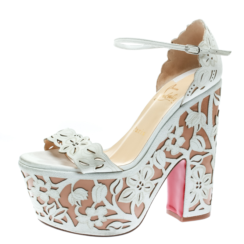 Christian Louboutin Two Tone Suede Laser Cut Floral Overlay Houghton Platform Sandals Size 37.5