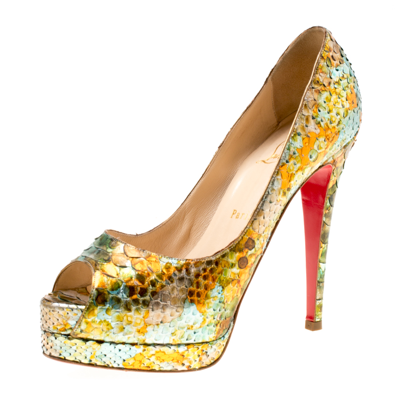 a732e578ef52 ... Christian Louboutin Multicolor Python Leather Troca Altareva Lady Peep  Toe Platform Pumps Size 37.5. nextprev. prevnext