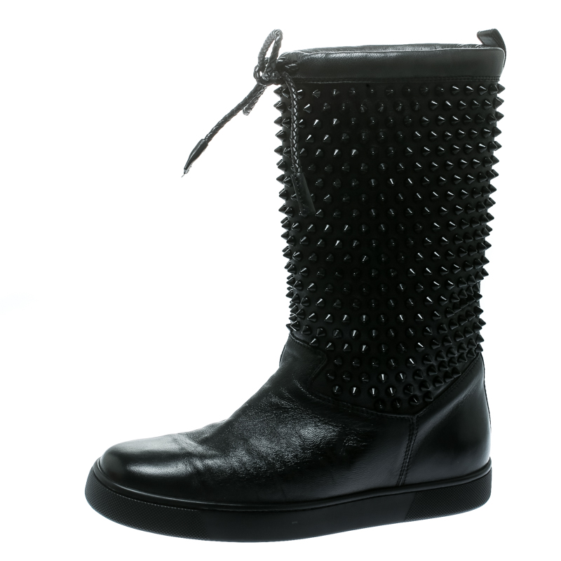 0ab774ccebb Christian Louboutin Black Leather Surlapony Spiked Mid Calf Boots Size 38