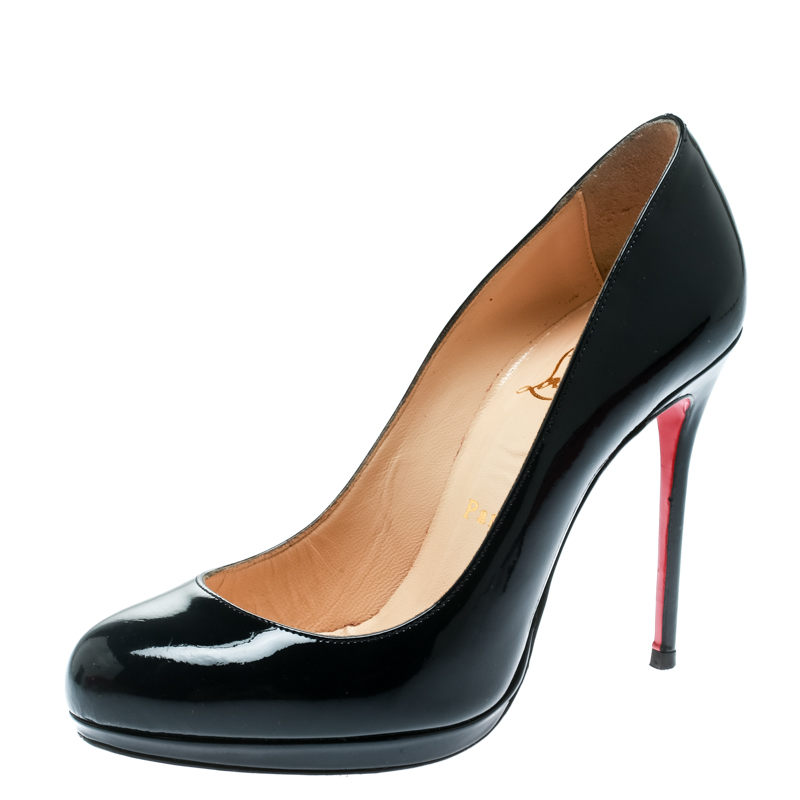 buy popular b5992 d76ae Christian Louboutin Navy Blue Patent Leather Neofilo Platform Pumps Size 37