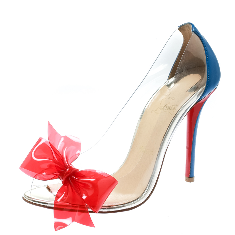 Christian Louboutin Blue Leather With Red PVC Bow Tip Peep Toe Pumps Size 39
