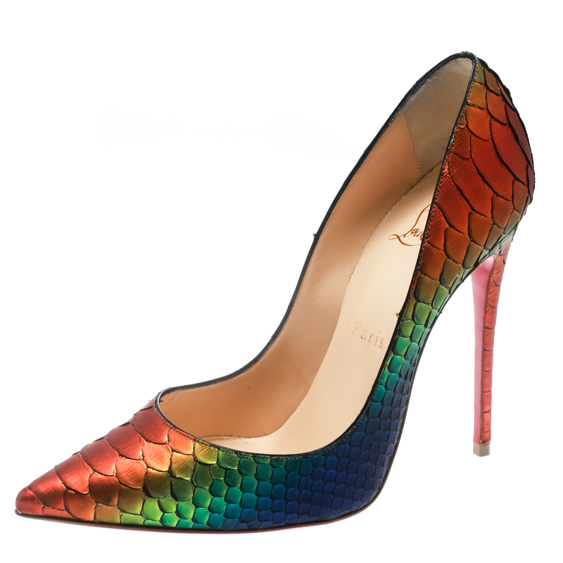 ca9857b0114 Christian Louboutin So Kate Python Leather Rainbow Pointed Toe Pumps Size  36.5