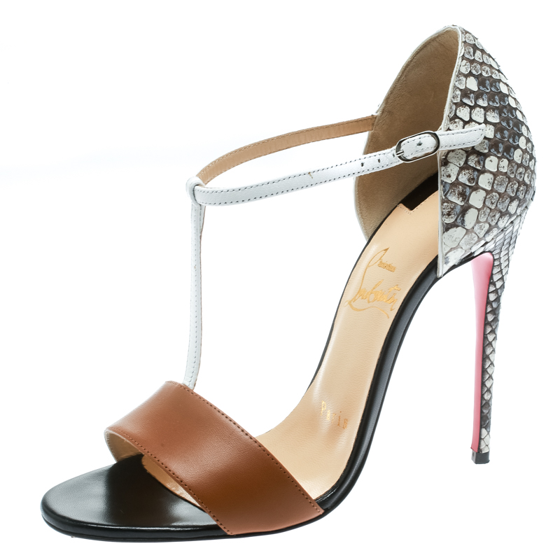 best service 9d66e 9817f Christian Louboutin Brown Calf/Python Leather True Blue T Strap Sandals  Size 36.5