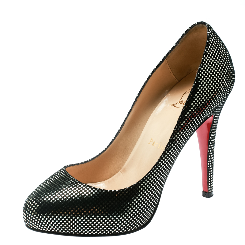 info for e7aec 26c1a Christian Louboutin Black Suede with Metallic Silver Polka Dots Platform  Pumps Size 36