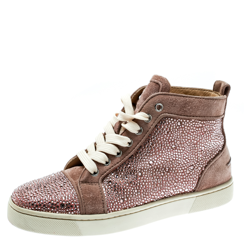 498c4f8fbd9 Buy Christian Louboutin Beige Strass Suede Louis High Top Sneakers ...