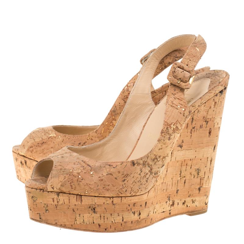 brand new b172b 53f34 Christian Louboutin Beige Cork Une Plume Peep Toe Slingback Wedges Sandals  Size 39